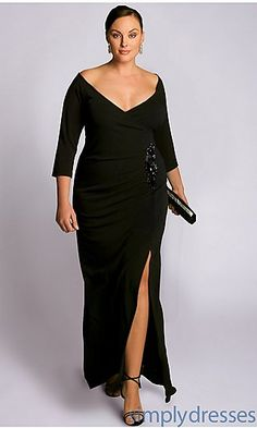 Garbo Black V-Neck Off the Shoulder Dress at PromGirl.com