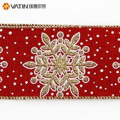 Glitter Snowflake Pattern Sprinkle Powder Gold/Silver Foil Stamping Christmas Metallic Wired Edged Burlap Ribbon, View Wired Ribbon, VATIN Product Details from Zhongshan Huading Trappings Co., Ltd. on Alibaba.com