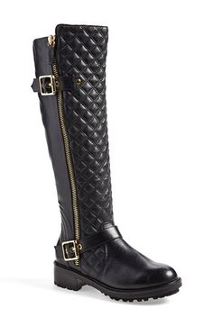 Steve Madden 'Willits' Quilted Moto Boot (Women) available at #Nordstrom #Summer #BlackLeather