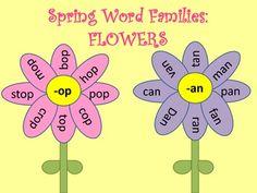 level b & c kiddos? Kindergarten Phonics, Kindergarten Language Arts, Teaching Reading, Teaching Tools, Phonics Display, Cute Bulletin Boards, Spring Words, Family Flowers, Rhyming Words