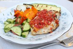 Bruschetta Grilled Chicken and Veggies with Cucumber Tomato Salad