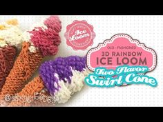 3D RAINBOW LOOM ICE LOOM SERIES:Two Flavor Swirl Soft Serve on a Waffle Cone