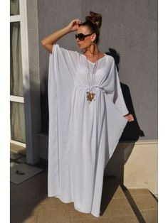 1c9e87fe8e9 White Summer Dress - Atina by OFG White Kaftan