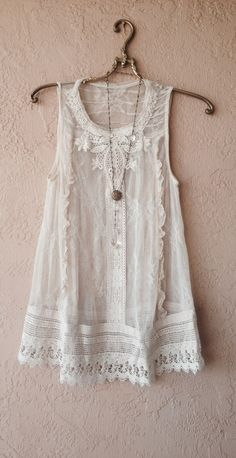 Image of Moulinette Soeurs Lace and cotton crochet sheer ivory tunic