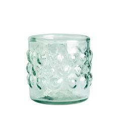 Turquoise. Small tealight holder in texture-patterned clear glass. Diameter 2 1/4 in., height 2 1/4 in.