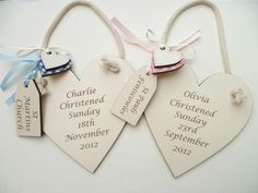 Personalised engraved Christening plaque Baby boy/girl gift in IVORY heart £4.49