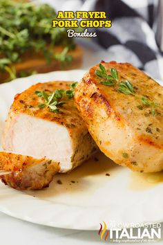 Air fryer pork chops are boneless pork with sweet and savory flavors. Make this easy pork chop recipe for a healthy weeknight dinner. #PorkChops #AirFryer #30MinuteMeal