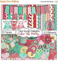50% OFF TODAY Owl Clip Art / Bird Digital Scrapbook Kit in Pink Red Cards, Invites, Digital Scrapbooking, Instant Download