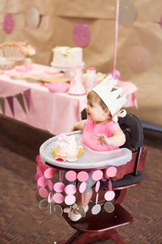 1st bday ideas... pink gold polka dot princess first birthday party ombre circle paper high chair decorations