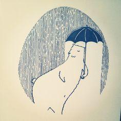 #inktober #07 by tjasa malalan #bear #bearillustration #rain #lovetherain
