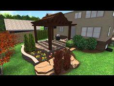 Landscape Design 3D Walkthrough - Raised Patio - Flagstone Walkway - Fro...