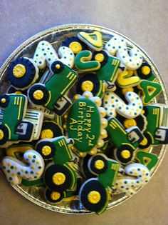 Tractor Birthday, Farm Birthday, 4th Birthday Parties, John Deere Party, Second Birthday Ideas, Farm Party, Birthday Cookies, Tractor Cookies, First Birthdays