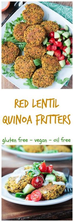 Baked Red Lentil Quinoa Fritters - crispy on the outside, but baked with no oil. These gluten free fritters are spiced with turmeric, cumin and a hint of cinnamon. Do Meatless Monday right! Vegan Dinner Recipes, Vegan Snacks, Dairy Free Recipes, Whole Food Recipes, Vegetarian Recipes, Cooking Recipes, Healthy Recipes, Vegan Food, Vegan Zucchini Recipes