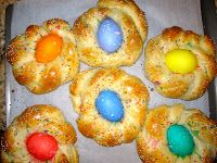 The Cultural Dish: Buona Pasqua! Happy Easter with Italian Easter Egg Bread - no need to boil eggs first, they will cook in the oven. Just dye eggs, before placing in bread.
