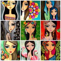 Disponibles en láminas de 33 x 45 Art Pop, Abstract Face Art, Indian Art Paintings, Art Drawings Sketches, Art Journal Inspiration, Whimsical Art, Drawing For Kids, Doodle Art, Female Art