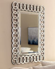 """One of the mirrors that would be placed over the Ribbons silver leaf chest """"Coddoa""""+Mirror+at+Horchow. #Horchow"""