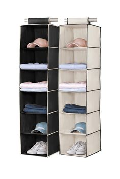 Black/Cream 6 Shelf Hanging Organizer   Set Of 2