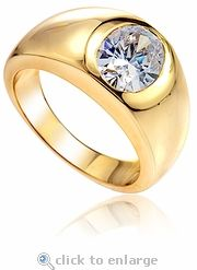 Ziamond cubic zirconia bezel set oval mens ring in 14k yellow gold.  The Barton Mens Ring features a 2.5 carat oval. #ziamond #cubiczirconia #oval #ring #solitaire #mens #fathersday