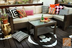 Outdoor Decorating with Color: Hampton Bay Outdoor Sectional and Painted Floor