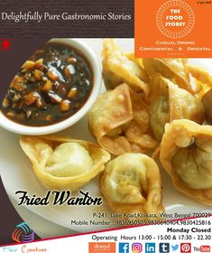 Delightfully Pure Gastronomic Stories Unfolding at The Food Storey..  Wanna write YOUR'S?  let us entice you with our  FRIED WANTON  #tfs #thefoodstorey #continental #asian #vegetarian #nonvegetarian #appetizers #salads #soups #entree #starters #noodles #rice #flaircreatives #FIMC #homedelivery #takeway #dining