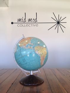 Mid century Rand McNally globe. Available now at Mid Mod Collective. Email midmodcollective@gmail.com for more info.