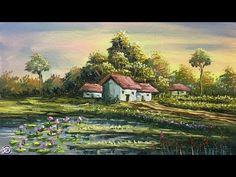 Beautiful Landscape Paintings, Scenery Paintings, Colorful Paintings, Nature Paintings, Landscape Plans, Landscape Design, Acrylic Portrait Painting, Painting Art, Building Art