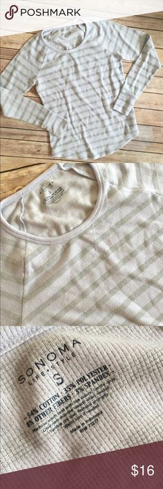 Small Henley Striped Top Super cute striped henley long sleeve top. Comfy + cute = yes, please! In good condition, no flaws, very minimal signs of wear. Close up pictured. Size small Sonoma Tops Tees - Long Sleeve