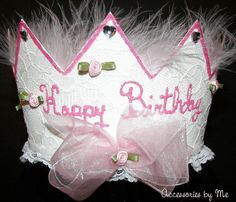 Happy Birthday Crown Princess Pink Marabou Lace by accessoriesbyme