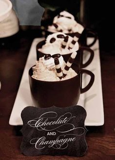 Yumm! Wouldn't your guests love to be welcomed with a cup of gorgeous hot chocolate! Or even have cappuccinos for those are are not fond of hot chocolate!