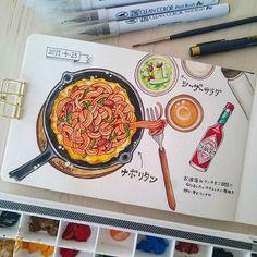 ponta_10052017.4.25 ・ お友達の家でお昼ご飯をご馳走になりました♪ ・ スキレットと薄焼き卵でお洒落なナポリタン(*Ü*) ・ ナポリタン大好きだし、当然のことながら普段は作る側なので、たまに人に作ってもらうご飯は特別美味しいです♡ ・ ・ #ほぼ日風#ほぼ日もどき#diary#イラスト#日記#絵日記#お絵かき#dorwing#スケッチブック#ペン#ponta日記#ponta_1005#水彩#ホルベイン#不透明水彩#モレスキン#モレスキン日記#ナポリタン#スキレット2017/04/29 15:30:49