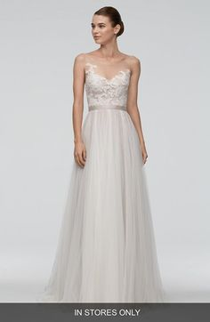 Free shipping and returns on Watters 'Azriel' Illusion Neckline Lace & Net A-Line Gown (In Stores Only) at Nordstrom.com. This wedding gown can't be purchased online but is available for special order in our in-store Wedding Suites. Special orders ship within 8–16 weeks. Please call 1.888.300.1295 to find a Wedding Suite near you or Book an appointment online.Floral lace twines across the sheer tulle bodice of a captivating A-line gown designed to give a strapless look with the support and…