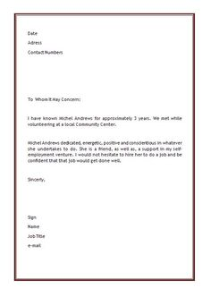letter of recommendation sample for employment