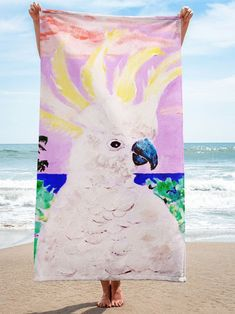 So awesome! She puts her paintings on beach towels. This is a fan favorite! Double Headed Eagle, Eagle Design, California Surf, Skate Surf, Zodiac Jewelry, Surf Style, Cockatoo, Occult, Beach Towel
