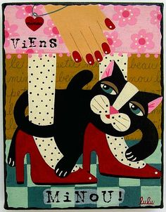 Red Shoes and Black Cat painting by LuLu