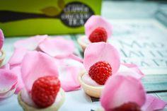 Mini rose and raspberry cheesecakes