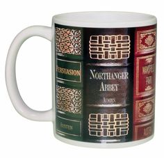 Perfect coffee or tea mug for Jane Austen Fans. This wrap around design features Jane Austen's most popular works: - Pride and Prejudice - Sense and Sensibility - Mansfield Park - Northanger Abbey - E