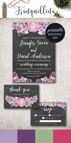Floral Wedding Invitation, Purple Wedding Invitation Boho, Grey Pink Wedding Invitation, Watercolor Rustic Wedding Invitation Set. DIY wedding ideas. tranquillina.etsy.com