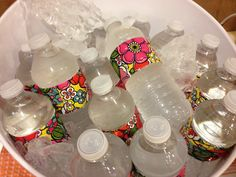 Duct tape decorating water bottles