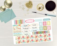 Pinning so I don't forget!! Remember to go back and check out Crafted By Corley on Etsy. Bright Bouquet - Transform My Planner Erin Condren Hourly Life Planner Sticker Sticker Set Weekly View Sticker Hourly Stickers by CraftedByCorley