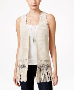 Hippie Rose Juniors' Crocheted Fringe Sweater Vest