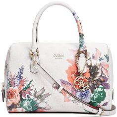 GUESS Linea Floral-Print Logo Box Satchel found on Polyvore featuring polyvore, women's fashion, bags, handbags, cement, white purse, handbag satchel, satchel bag, white satchel and floral handbags
