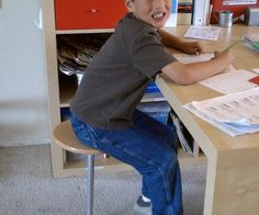 One Leg Therapy Stool Autism   - help with self regulation - helps with focus - make from basic hardware store materials