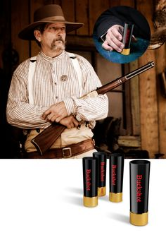 Just try to steal this man's Buckshot Shot Glasses from www.thewineboxessentials.com