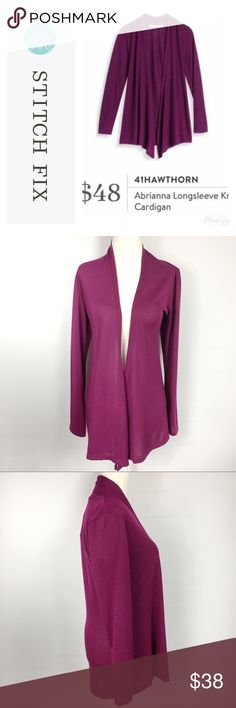 Stitch Fix 41 Hawthorn Abrianna Open Cardigan Style: open knit long sleeve cardigan, jewel tone purple  Top of shoulder to bottom hem approx: 29 in front & 27 in Back. Armpit to armpit approx: 17 in. Fabric: 63% Polyester, 33% rayon and 4% spandex, fabric is stretchy. Flaws: none Condition: NWT  **measurements vary from brand to brand. Please use measurements provided to determine fit for your needs. I'm always happy to provide additional measurements if needed** 41 Hawthorn Sweaters…