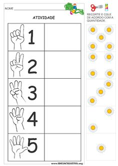 Atividade Número e Quantidade com Recorte e Colagem Primavera