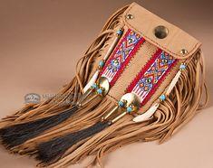 """Native American Pueblo Medicine Bag 6x7"""" -Elk Hide (b52) - Mission Del Rey Southwest"""