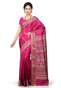 Buy Fuchsia Pure Baluchari Silk Handloom Saree with Blouse online, work: Hand Woven, color: Fuschia, usage: Wedding, category: Sarees, fabric: Silk, price: $257.78, item code: SQGA50, gender: women, brand: Utsav