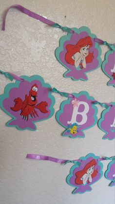Little Mermaid Banner, Party Birthday Banner, Little Mermaid Party Decoration Little Mermaid with sea shell