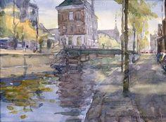 Titus Meeuws impressionist - Amstelstraat, Amsterdam. Watercolour. 35 x 55 cm