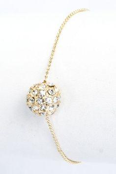 Gold Pave Crystal Ball Bracelet